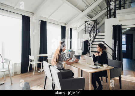 Young architect student being interviewed for job in design company,having conversations about successful startup - Stock Photo