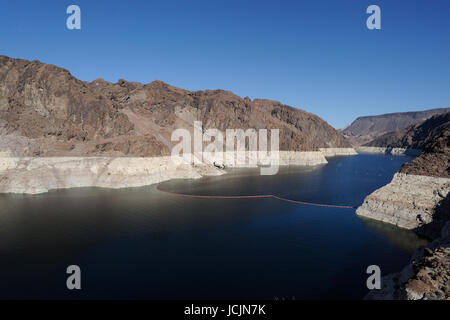 Hoover Dam on the Colorado River, Lake Mead.view, USA Nevada border - Stock Photo