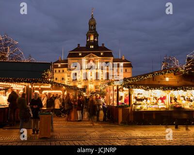Town Hall, Christmas Market, market square, Lüneburg, Lower Saxony, Germany - Stock Photo