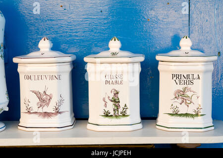 Faience pottery, Moustiers-Sainte-Marie, Provence, France. - Stock Photo