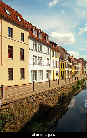 Altbau Wismar Deutschland / Old Apartment Building Wismar Germany - Stock Photo