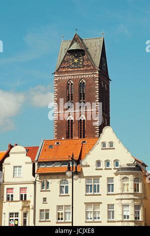 St. Marien-Kirche Hansestadt Wismar Deutschland / Church of St. Mary Hanseatic City Wismar Germany - Stock Photo