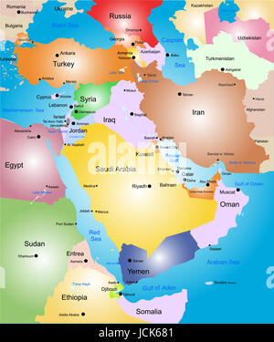 Middle-east vector color map - Stock Photo