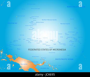 Vector color map of micronesia island - Stock Photo