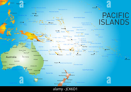 Vector color map of pacific islands - Stock Photo