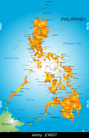 Vector color map of Philippines - Stock Photo
