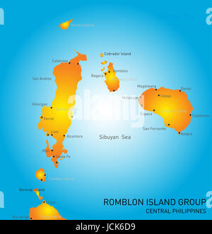 Vector color map of Romblon Island group - Stock Photo