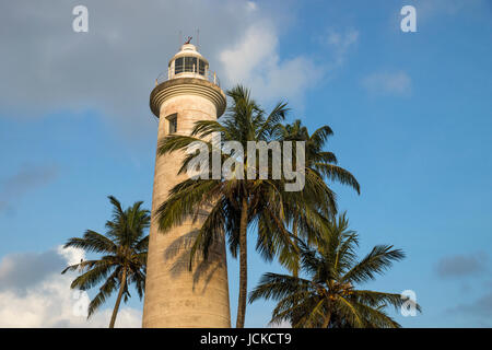 Lighthouse of galle with palm trees - Stock Photo