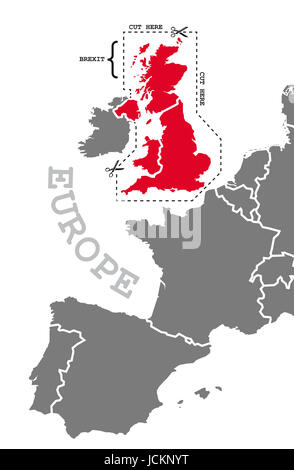 Brexit illustration map in grey red with cut out line around highlighted britain - Stock Photo