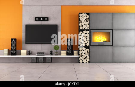 contemporary wall units for living room. contemporary living room with white wall unit and fireplace - stock photo units for n