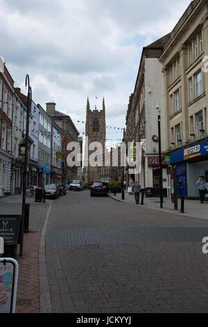Derby, England, 14th, June, 2001.  Western aspect of Derby Cathedral tower looking eastward from Iron Gate - Stock Photo