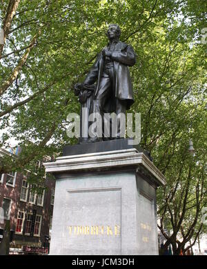 Statue of the Dutch 19th century statesman Johan Rudolph Thorbecke at Thorbeckeplein, inner city of Amsterdam, The - Stock Photo