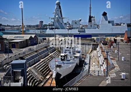Portsmouth Historic Dockyard Hampshire UK HMS M33 an M29-class monitor of the Royal Navy built in 1915. Last survivor - Stock Photo
