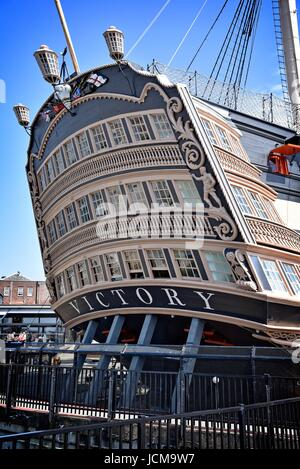 HMS Victory 104-gun first-rate ship of the line of the Royal Navy launched 1765. Nelson's flagship, Trafalgar 1805 - Stock Photo