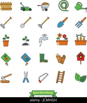 Collection of gardening vector icons, filled outline style - Stock Photo