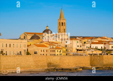 Alghero Sardinia, view of the skyline and the historic sea wall - or bastioni- along the western side of Alghero - Stock Photo