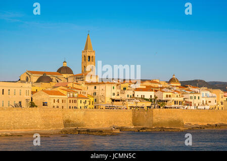 Alghero cityscape, view of the skyline and the huge sea wall - or bastioni- along the western side of Alghero, summer, - Stock Photo