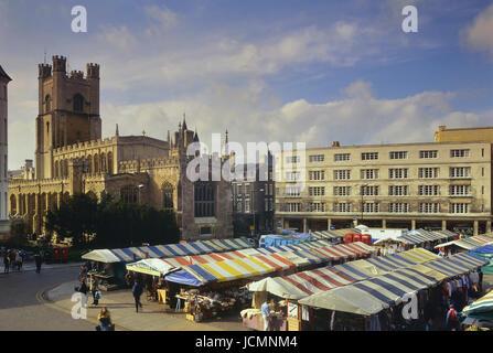 Market and Great St Mary's Church, Market Hill, Cambridge, Cambridgeshire, England, UK - Stock Photo
