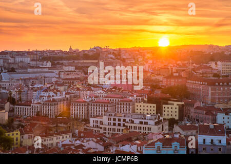 Historical centre of Lisbon at sunset, Portugal - Stock Photo