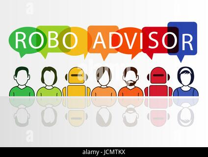 Robo-advisor concept as vector illustration with colorful icons of robots and persons - Stock Photo