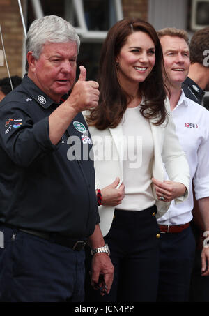 Sir Keith Mills (left) with the Duchess of Cambridge attending the 1851 Trust charity's final Land Rover BAR Roadshow - Stock Photo