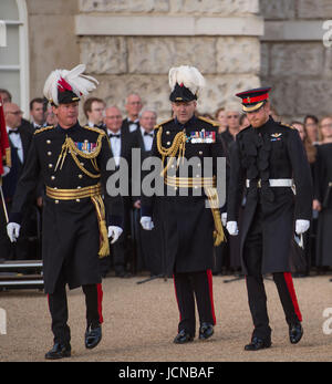 Horse Guards Parade, London UK. 15th June 2017. HRH Prince Harry takes the salute at Beating Retreat evening event - Stock Photo