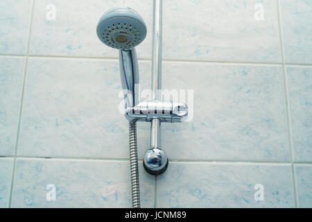 Modern luxury shower cabin with fixed sprinkler and soap dish - Stock Photo