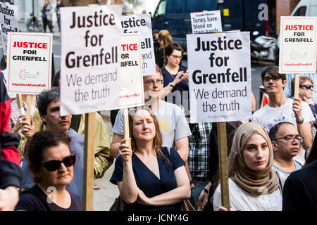 London, UK. 16th June, 2017. Justice for Grenfell Protest outside the Home Office. Protesters call for a full investivation - Stock Photo