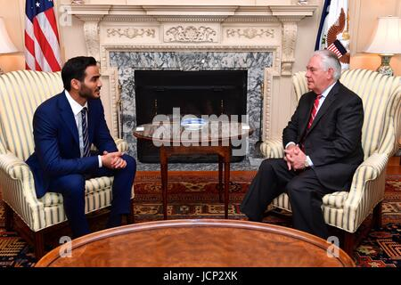 U.S. Secretary of State Rex Tillerson holds a bilateral meeting with Qatari Secretary to the Emir for Investments - Stock Photo