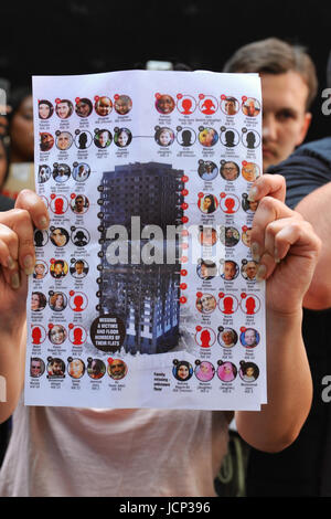 London, UK. 16th June, 2017. A woman holding a list of some of the missing people caught in the Grenfell Tower fire - Stock Photo