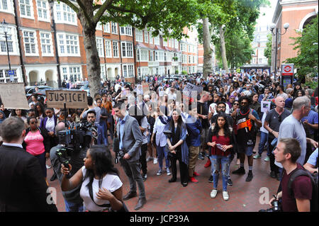 London, UK. 16th June, 2017. Survivors of the Grenfell Tower fire, along with other community activists protesting - Stock Photo
