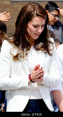 London, UK. 16th June, 2017. Princess Kate, The Duchess of Cambridge at the Docklands Sailing and Watersports Centre - Stock Photo
