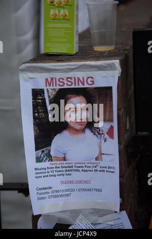 Kensington, London, UK. 17th June, 2017. Poster showing missing 12 year gird Jessia Urban. Scenes around Latimer - Stock Photo
