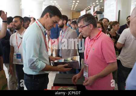 Madrid, Spain. 17th June, 2017. Pedro Sanchez during the inauguration of the 39th PSOE congress, in Madrid, on Saturday - Stock Photo