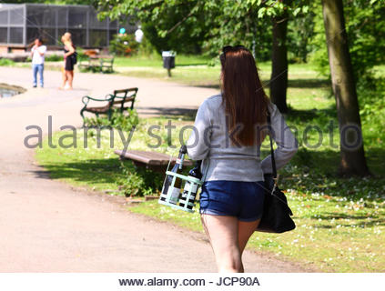 Wakefield, West Yorkshire, UK. 17th June, 2017. As the weekend gets off to a hot start people were enjoying  Thornes - Stock Photo