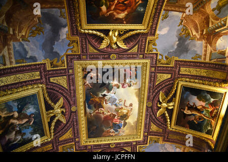 painted ceiling in the Galleria of the Villa Borghese in Rome Italy - Stock Photo