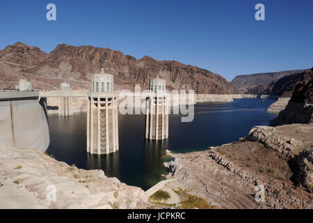 view of Penstocks, or water intake towers, in Lake Mead at Hoover Dam on the Colorado Riverl - Stock Photo