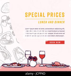 Greeting card with dinner table and special prices text stock vector top view greeting card with dinner table and special prices text stock photo m4hsunfo