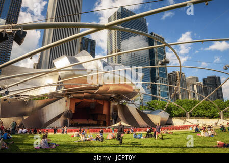 CHICAGO, ILLINOIS, USA - MAY 30, 2016 : Jay Pritzker Pavilion in Millennium Park in Chicago.  It is the home of - Stock Photo