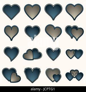 Heart shape icons against white background - Stock Photo