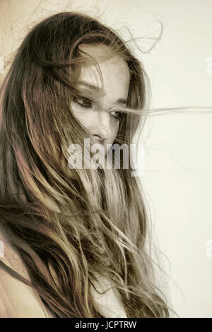 Blond Woman Windswept Hair - Stock Photo