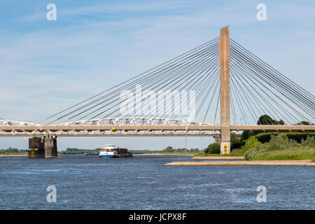 Panorama of Martinus Nijhoff Bridge and Waal river near Zaltbommel, Gelderland, Netherlands - Stock Photo