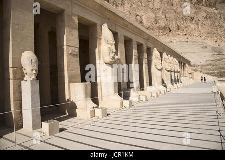 Carved statues of the Queen Hatshepsut as a man, Situated in the Temple of Hatshepsut, Is an ancient funerary shrine, - Stock Photo