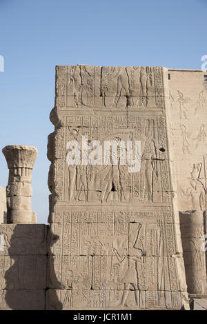 Partial view of Edfu Temple, It is one of the best preserved shrines in Egypt, Dedicated to the falcon god Horus, - Stock Photo
