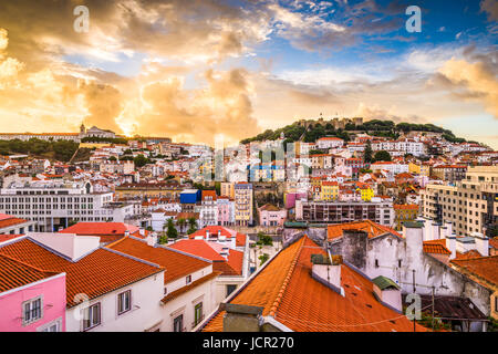 Lisbon, Portugal skyline at Sao Jorge Castle. - Stock Photo