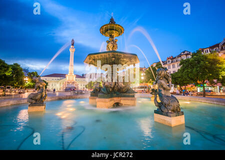 Lisbon, Portugal cityscape at Rossio Square. - Stock Photo