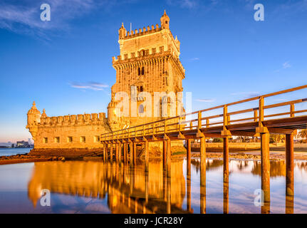 Belem Tower on the Tagus River in Lisbon, Portugal. - Stock Photo