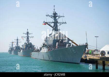 The U.S. Navy Arleigh Burke-class guided-missile destroyers (front to back) USS Porter, USS Donald Cook, USS Carney, - Stock Photo