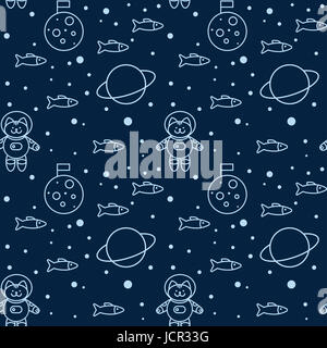 Seamless pattern with cat in space, the Moon and Saturn - Stock Photo