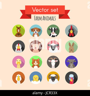 Vector set of farm or domestic funny animals icons - Stock Photo